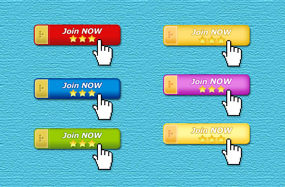 6 Golden Capped Join Now Buttons PSD