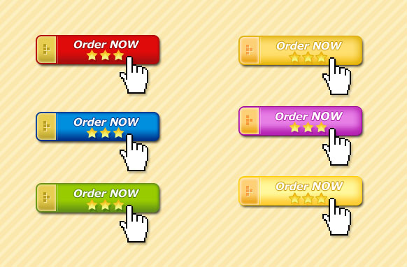 6 Golden Capped Order Now Buttons PSD