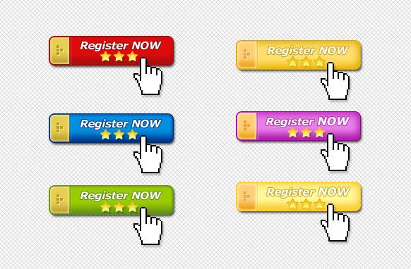 6 Golden Capped Register Now Buttons PSD