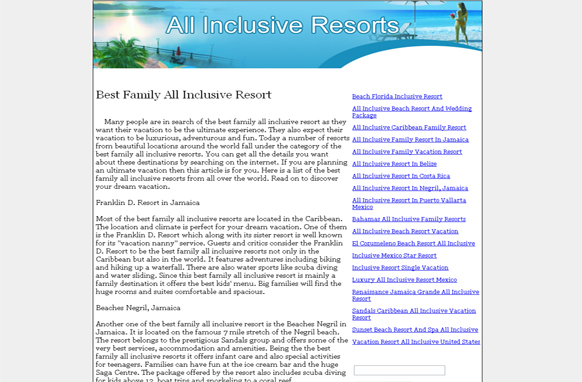 All Inclusive Resorts PLR Website Articles and PSDs