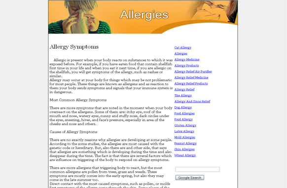 Allergies PLR Website Articles and PSDs