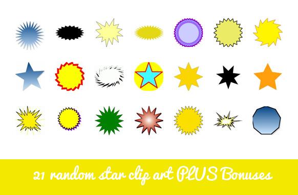 21 Random Star Clip Art PLUS Bonuses