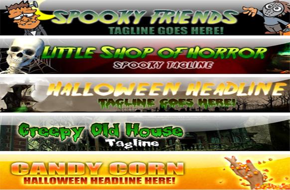 The 5 Halloween Niche Banner PSD and JPEG Kit