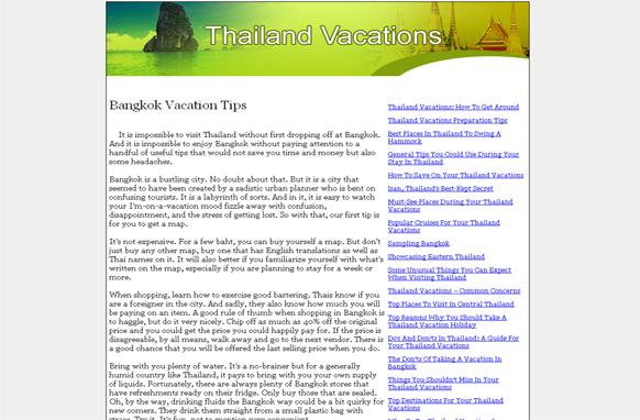 Thailand Vacations PLR Website Articles and PSDs