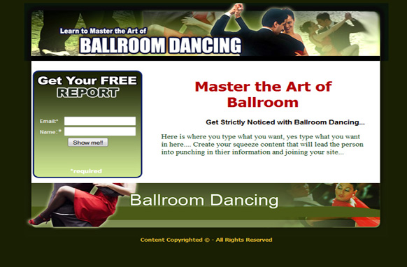 Ballroom Dancing HTML Squeeze Page