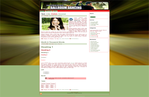 Ballroom Dancing HTML Template Edition 1