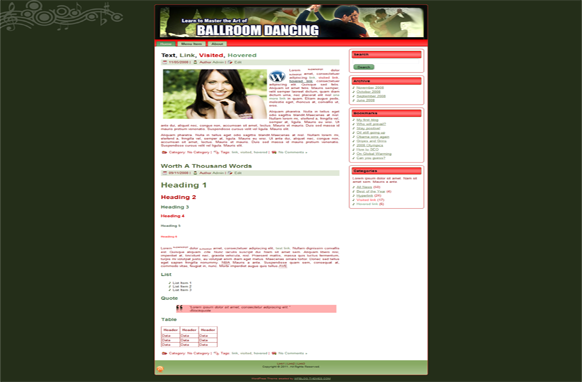 Ballroom Dancing HTML Template Edition 2
