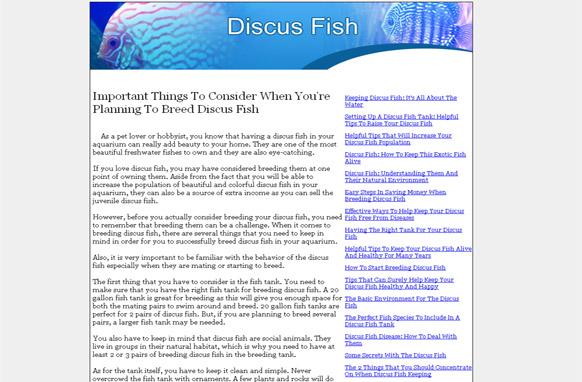 Discus Fish PLR Website Articles and PSDs