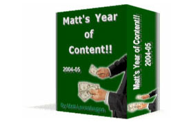 Matt's Year Of Content Volume 1