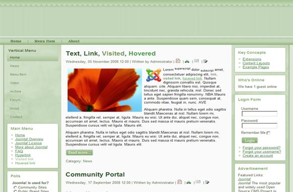 Soft Green Joomla Theme