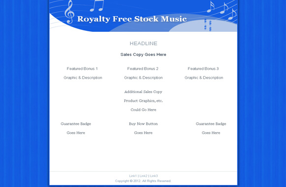 Stock Music Minisite Blue HTML Template