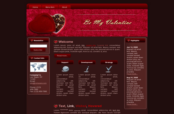 Valentine Chocolate HTML Template Edition 2
