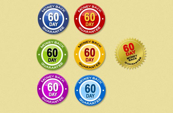 60 Day Money Back Guarantee Badges PSD