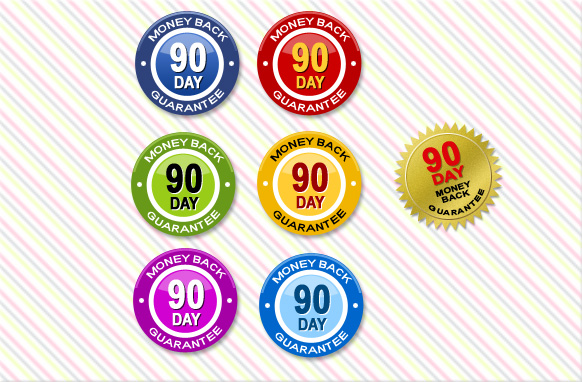 90 Day Money Back Guarantee Badges PSD