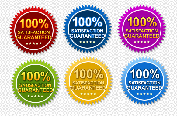 100 Precent Satisfaction Guaranteed Badges PSD