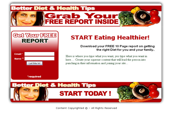 Better Diet & Health Squeeze Page