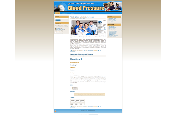 Blood Pressure HTML Theme Edition 3