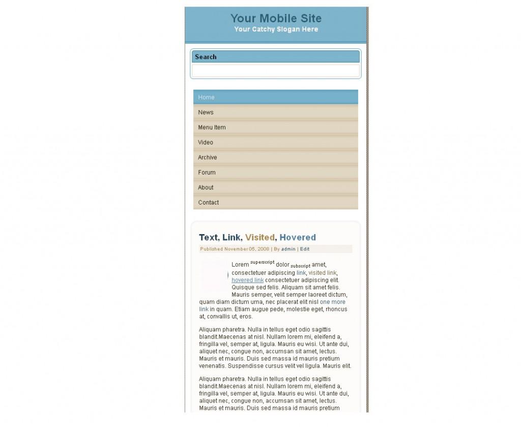 Blue Beige Mobile HTML Website Template
