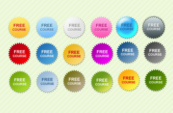 Free Course Star Badges PSD