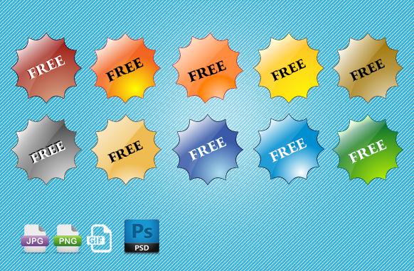 Free Star Badges PSD PNG GIF JPG Badges