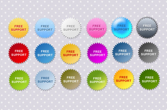 Free Support Star Badges PSD