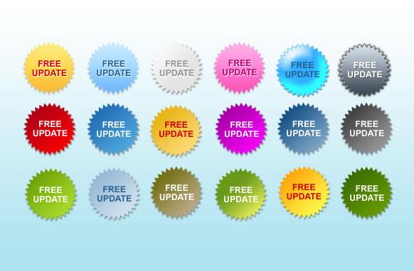 Free Updates Star Badges PSD