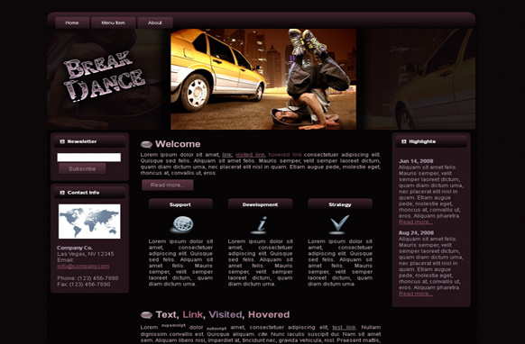 Break Dance HTML Template