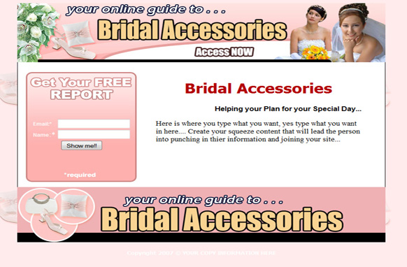 Bridal Accessories Squeeze Page