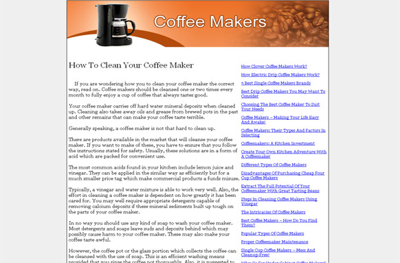 Coffee Makers PLR Website Articles and PSDs