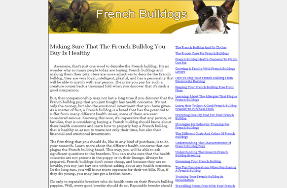 French Bulldogs PLR Website Articles and PSDs