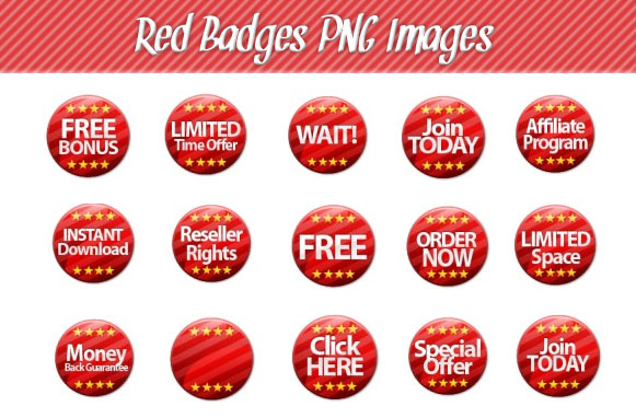 Red Badges PNG Images