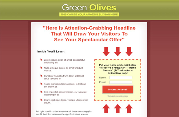 Green Olives HTML Squeeze Page Template