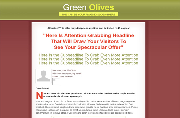 Green Olives HTML WP PSD Salespage Template