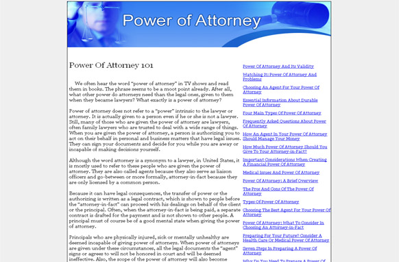 Power Of Attorney PLR Website Articles and PSDs