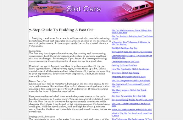 Slot Cars PLR Website Articles and PSDs