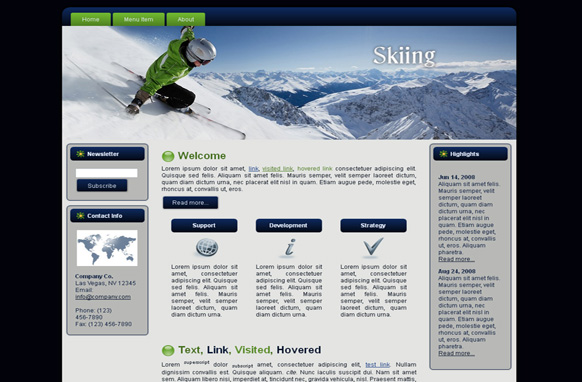 Snow Skiing HTML Template