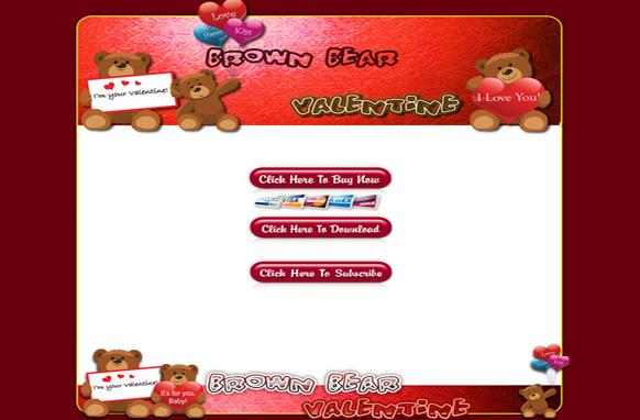 Brown Bear Valentine HTML Template