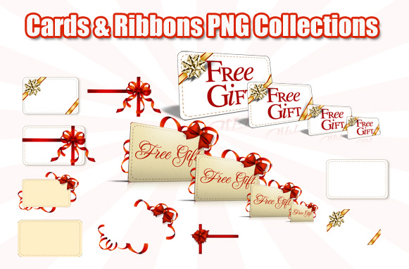 Cards & Ribbons PNG Collections