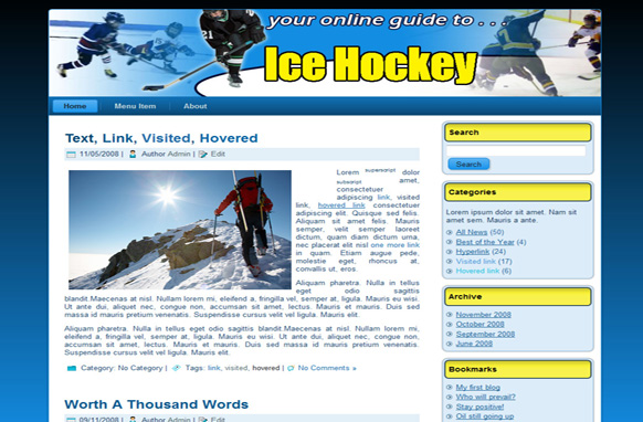 Ice Hockey HTML Template Edition 1