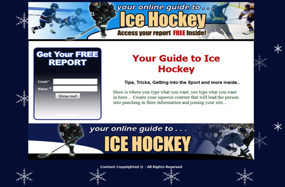 Ice Hockey Squeeze Page HTML Template