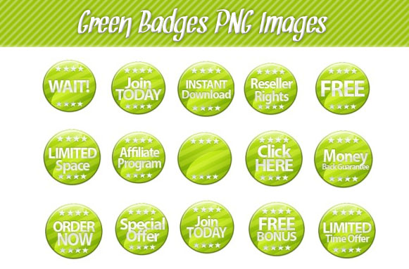 Green Badges PNG Images