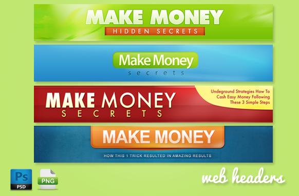 Make Money Web Headers in PSD Format