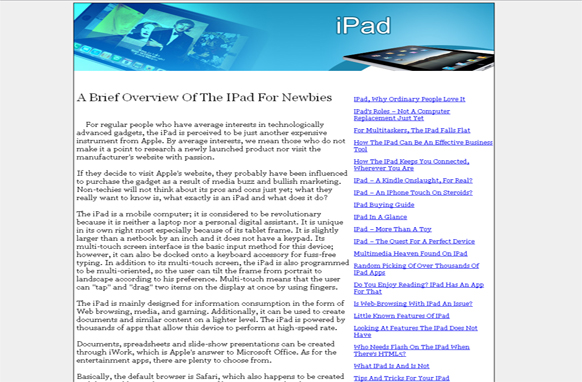 iPad PLR Website Articles and PSDs