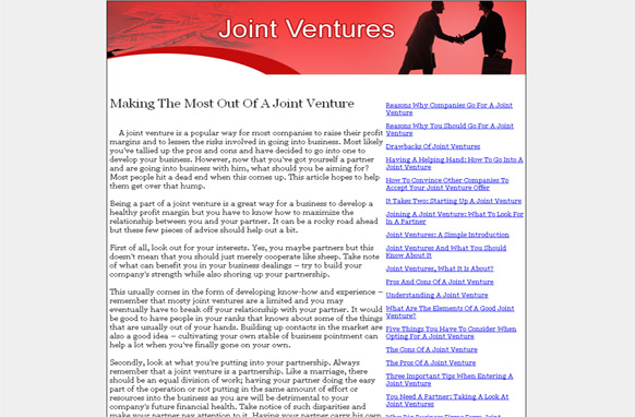 Joint Venture PLR Website Articles and PSDs
