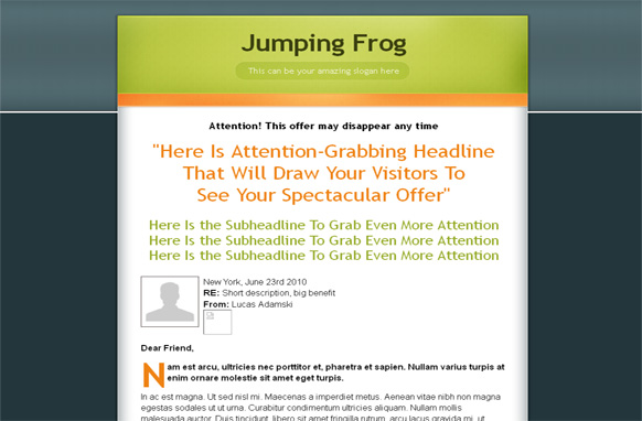 Jumping Frog HTML PSD Salespage Template