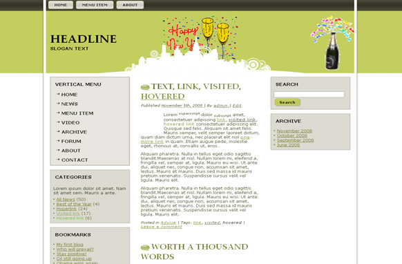 New Years HTML Theme Edition 3