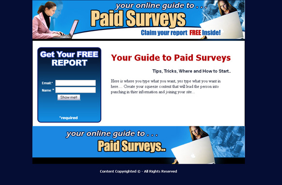 Paid Surveys Squeeze Page HTML Template
