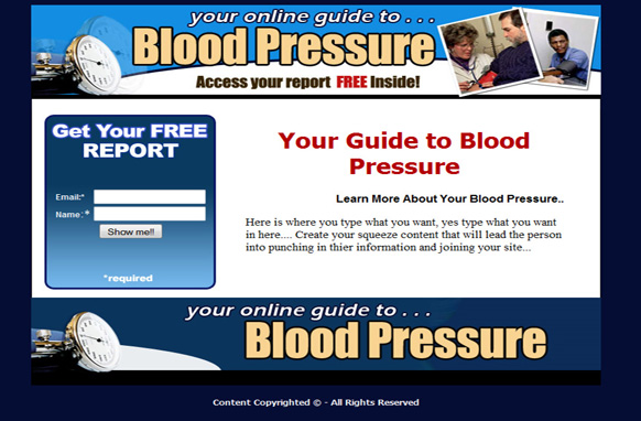 Blood Pressure HTML Squeeze Page & PSD Files