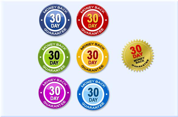 30 Day Money Back Guarantee Badges PSD