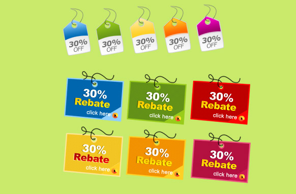 30 Precent Rebate Tags PSD